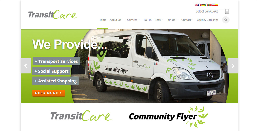 TransitCare website sample