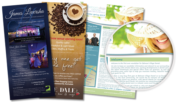 Graphic design for brochures and newsletters